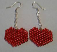 """Сережки-серце """"Червоні"""""""