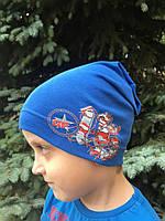 Хлопковая шапочка детская для мальчика с защипом сзади - М1721