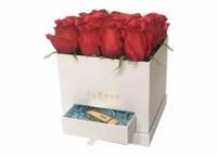 Подарочная коробка для цветов с ячейкой для подарка 1шт