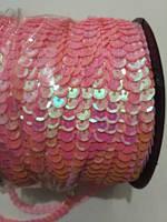 Пайетки на нитке (тесьма) розовые рифлёные круглые голографические (диаметр пайеток 6 мм)