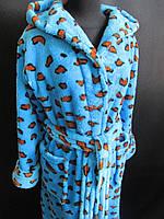 Цветной леопардовый халат с капюшоном., фото 1