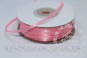 Атласная лента 0,3 см, розовая