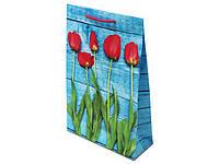 Пакет арт.№759 (33*23*10) Червоні тюльпани на синьому дереві (10 шт)