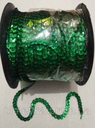 Пайетки на нитке (тесьма) зелёные рифлёные круглые голографические (диаметр пайеток 6 мм)