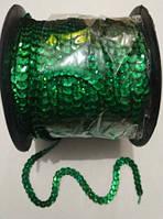Пайетки на нитке (тесьма) зелёные рифлёные круглые голографические (диаметр пайеток 6 мм), фото 1