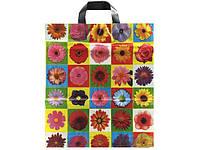 """Пакет с петлевой ручкой  ср  """"Цветы в квадрате163""""(40х40+3) 85мк (25 шт)"""