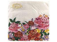 Салфетки столовые (ЗЗхЗЗ, 20шт)  La Fleur  Цветущие пионы (012) (1 пач)
