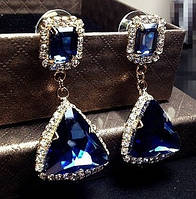 Серьги с синими камнями на гвоздике, бижутерия, фото 1