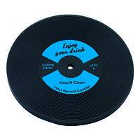 Костер под бокал 10 см. каучуковый черный с голубым LP Disk, The Bars