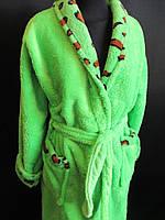 Однотонные махровые халаты с воротником, фото 1