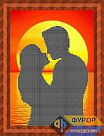 Схема для вышивки бисером - Силуэт влюбленная пара на закате, Арт. ЛБч4-27-1