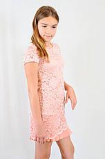 Детское подростковое праздничное гипюровое платье, персиковое., фото 2