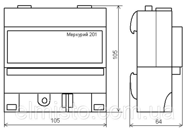 Габаритные размерыэлектросчетчика Меркурий 201.2