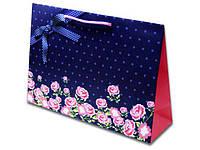 Пакет арт.№837 (35*24,5*10) Троянда з бантом на фіолетовому тлі (10 шт)