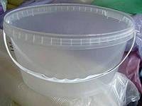 Пищевое ведро пластиковое с крышкой 5,6л овальное, прозрачное (70шт\уп)