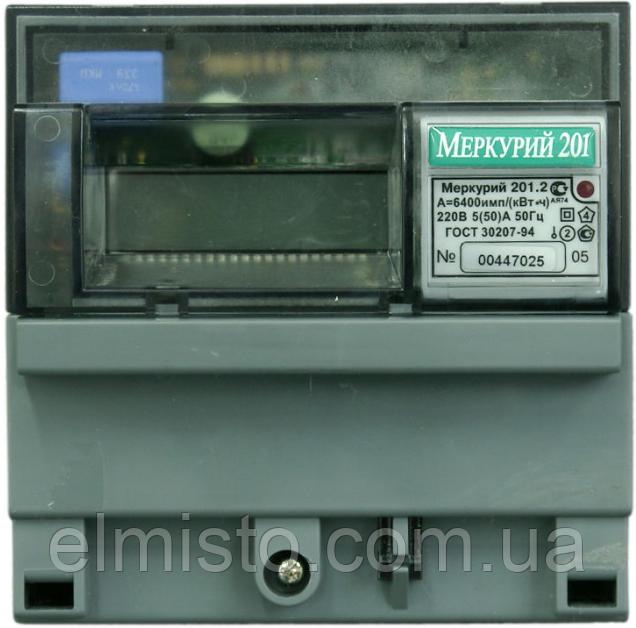 Счетчик электроэнергии Меркурий 201.2 230В 5(60)А ЖКИ, однофазный, однотарифный, кл.т. 1.0, DIN-рейка