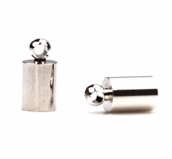 Концевик-колпачок  для шнуров и бисерных жгутов, 4 мм, цвет серебро, 1 пара
