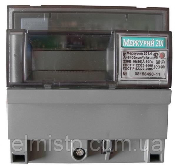 Счетчик электроэнергии Меркурий 201.4 230В 10(80)А ЖКИ, однофазный, однотарифный, кл.т. 1.0, DIN-рейка