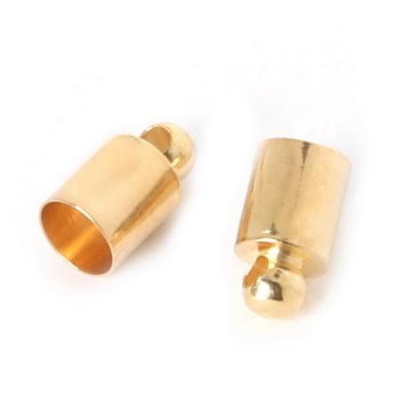 Концевик-колпачок  для шнуров и бисерных жгутов, 4 мм, цвет золото, 1 пара