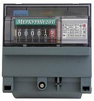 Счетчик электроэнергии Меркурий 201.6 230В 10(80)А ОУ, однофазный, однотарифный, ,кл.т. 1.0, DIN-рейка