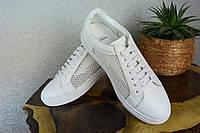 Кожаные кроссовки, Givenchy,Прада, белого цвета, весна, лето, осень, бренд, кожа