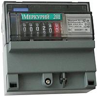 Счетчик электроэнергии Меркурий 201.5 230В 5(60)А ОУ, однофазный, однотарифный, ,кл.т. 1.0, DIN-рейка