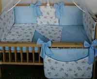 Набор постельного белья в детскую кроватку из 7 предметов Птички голубой