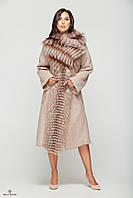 Женское зимнее пальто из буклированного кашемира с мехом чернобурки