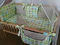 Набор постельного белья в детскую кроватку из 7 предметов Слоники