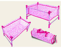 Кроватка металл CS7860 (1489990) для куклы до 45см,с одеялом,подушкой,в сумке 24*43*25см