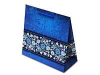 Пакет арт.№663 (22,5*22*10) Синий орнамент горизонтальный (10 шт)