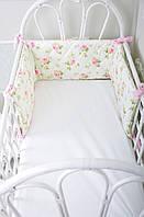 """Бортик-защита в кроватку """"Улитка"""" Розы на половину кроватки"""