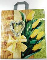 """Пакет с петлевой ручкой (40*45) """"Желтые тюльпаны """" Авентин (25 шт)"""