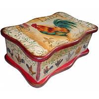 Деревянная шкатулка для чайных пакетиков Петухи