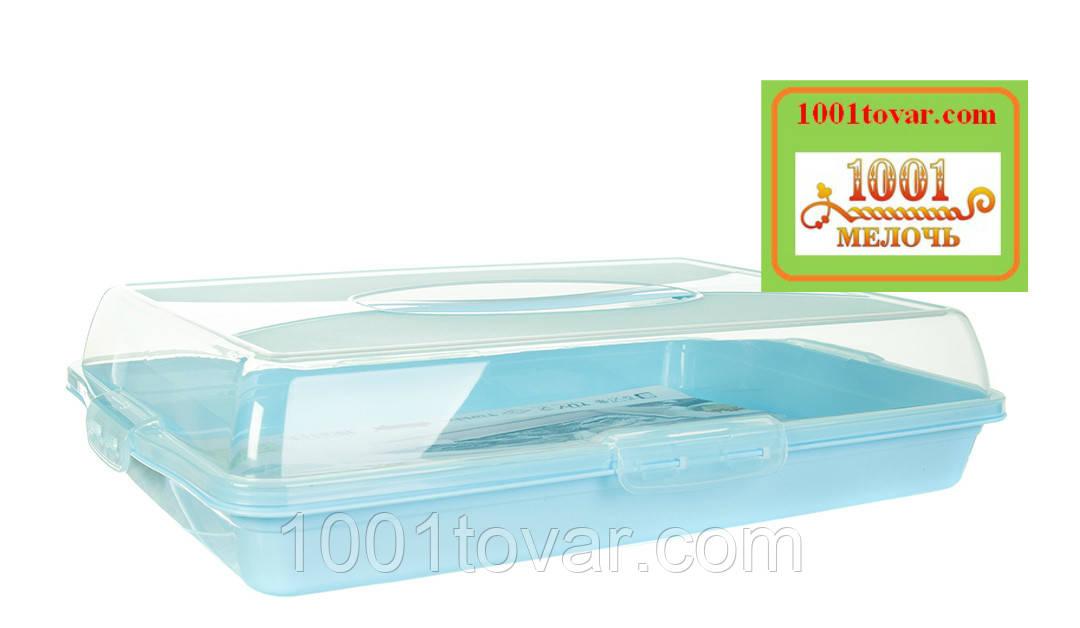 Тортовница прямоугольная пластиковая с ручкой для переноски. Dunya Plastik, Турция - фото 4