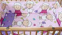 Защита бампер в детскую кроватку  из двух частей Барашек розовый