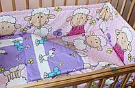 Комплект постельного белья в детскую кроватку Барашки розовый  из 3-х элементов