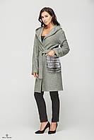 Женское зимнее пальто с капюшоном из кашемира с мехом чернобурки