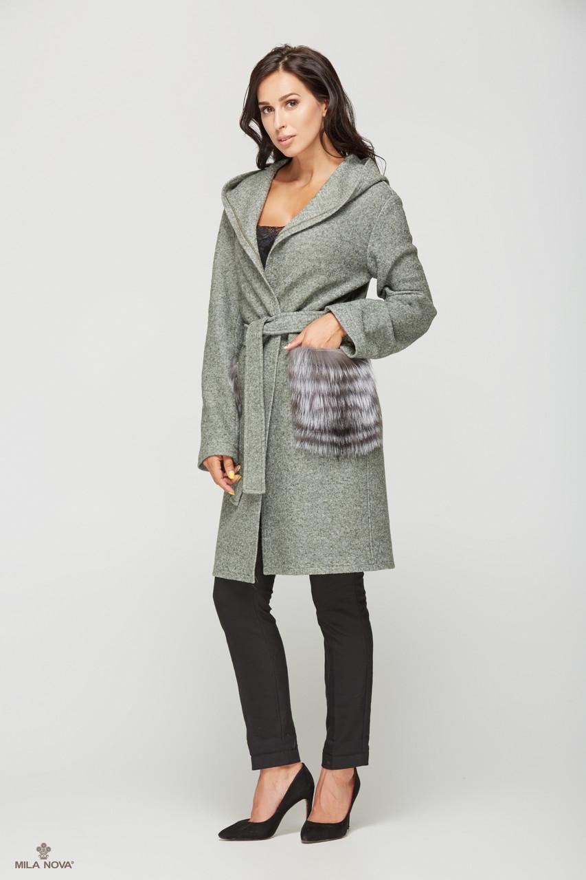 0b2d0c60185 Женское зимнее пальто с капюшоном из кашемира с мехом чернобурки -  Styleopt.com в Харькове