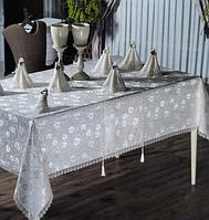 Скатерть прямоугольная (160 х 220 см) с салфетками 35х35 см+кольца 8 шт, + раннер 40х160 см, AYD Natali Турция