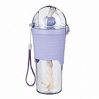 Бутылка с шейкером и трубочкой (500 мл) фиолетовая