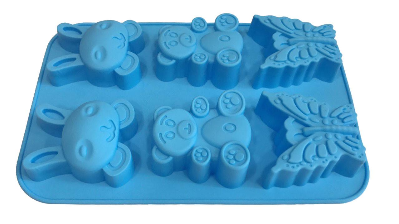 Форма силиконовая для выпечки   Зверята 6 шт на планшете