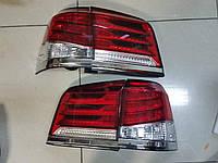 Задние рестайлинговые фонари Lexus LX 570 2013- красно-белые (комплект 4шт.)