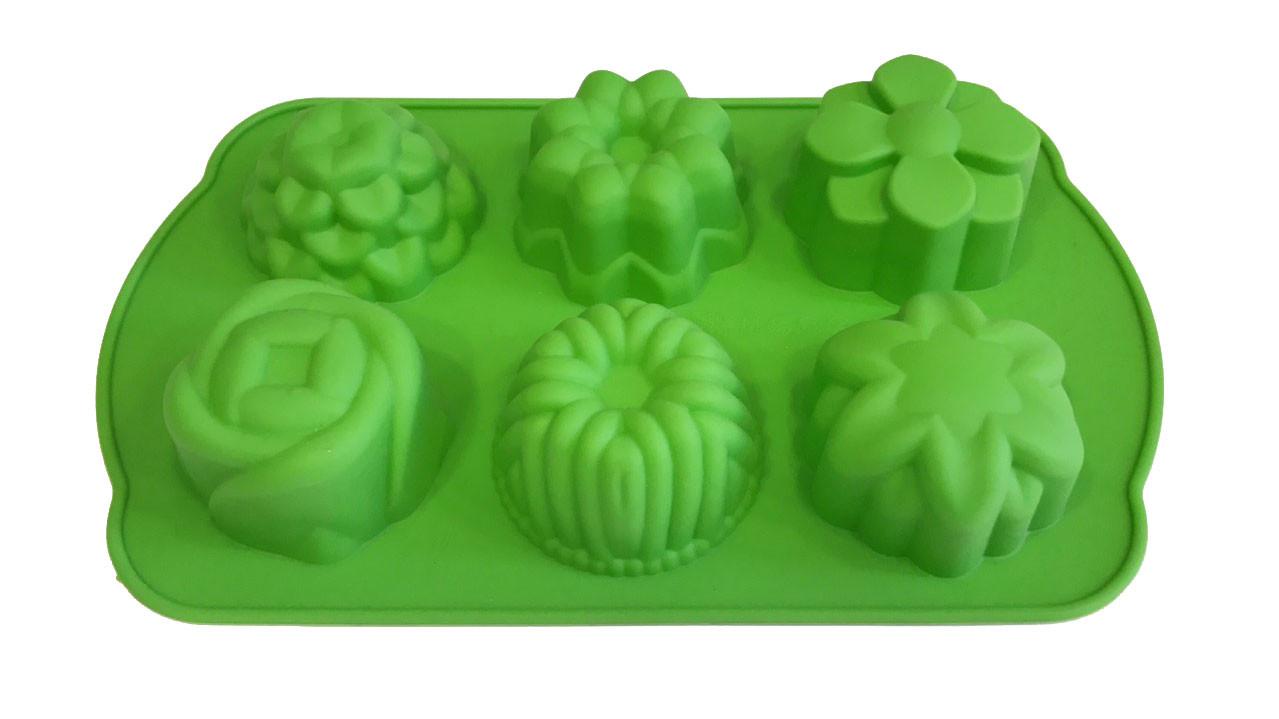 Форма силиконовая для выпечки Цветы ассорти 6 шт на планшете