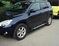 Алюминиевые пороги Sunrise с площадкой для Toyota Rav 4 2006-2012 (короткая или длинная база)