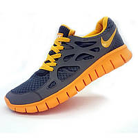 Кроссовки для бега Nike Free Run 2 Найк Фри Ран, серые с желтым