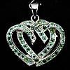 """Оригинальный  серебряный кулон с изумрудами 2 Сердца"""",  от студии LadyStyle.Biz"""