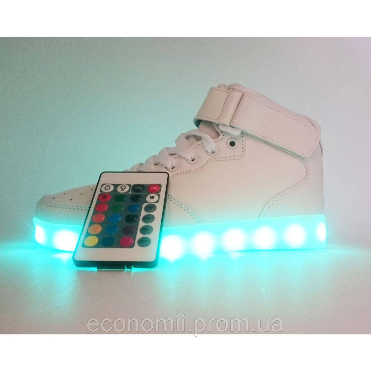 Светящиеся кроссовки Led высокие с пультом р.(35) 09f15d07cb6eb