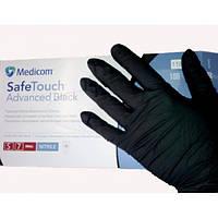 Перчатки нитриловые, черные, 100шт/уп