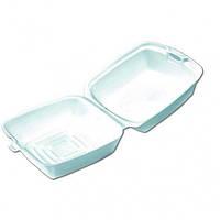 Ланч-бокс из вспененного полистирола для сандвичей с крышкой белый, 125шт/уп